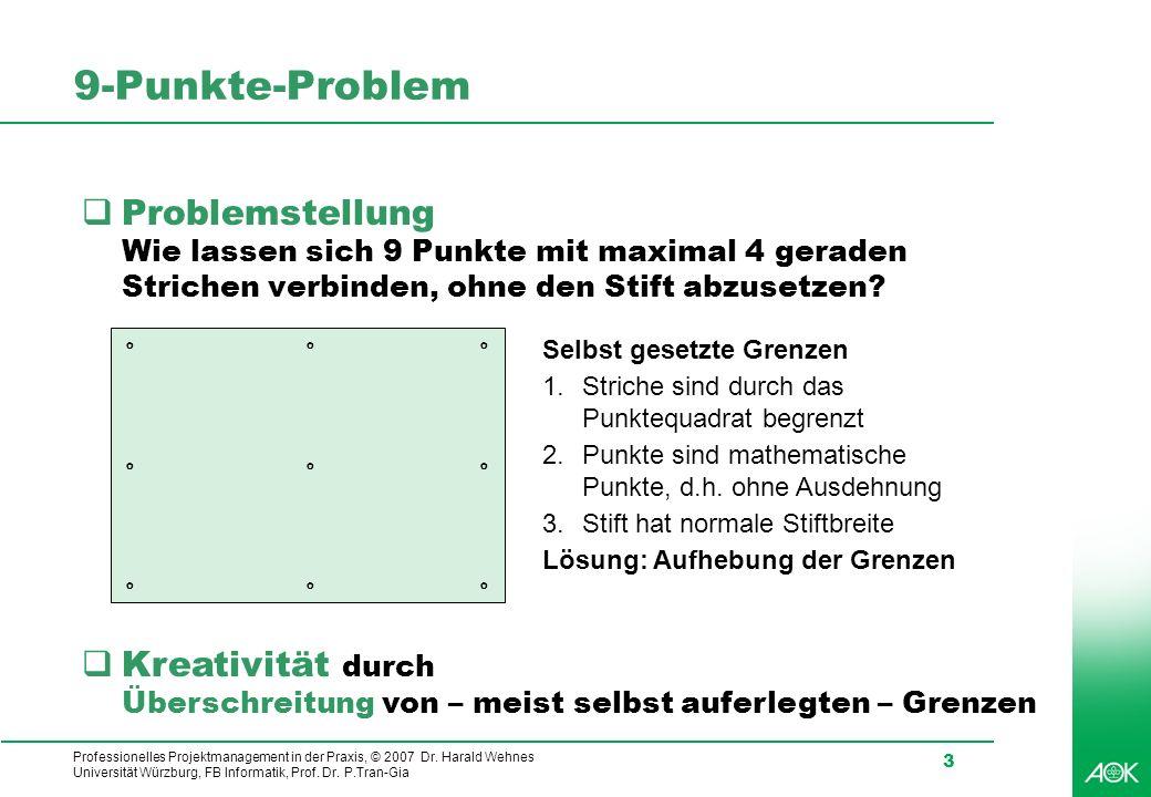 Professionelles Projektmanagement in der Praxis, © 2007 Dr. Harald Wehnes Universität Würzburg, FB Informatik, Prof. Dr. P.Tran-Gia 3 9-Punkte-Problem