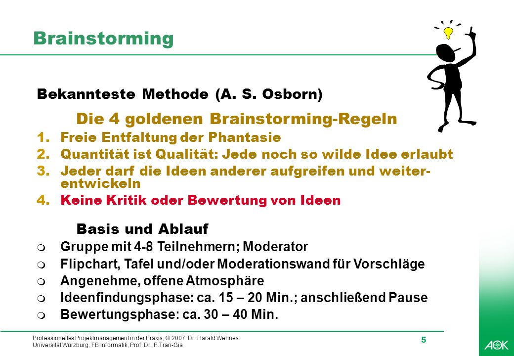 Professionelles Projektmanagement in der Praxis, © 2007 Dr. Harald Wehnes Universität Würzburg, FB Informatik, Prof. Dr. P.Tran-Gia 5 Brainstorming Be