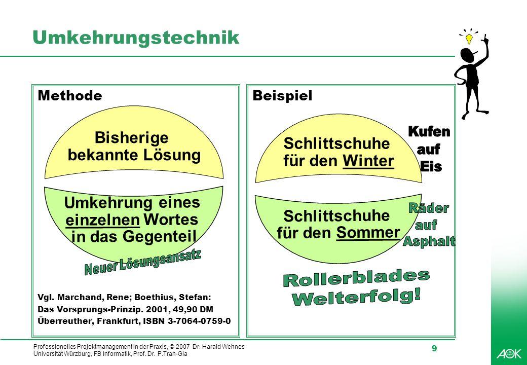 Professionelles Projektmanagement in der Praxis, © 2007 Dr. Harald Wehnes Universität Würzburg, FB Informatik, Prof. Dr. P.Tran-Gia 9 Umkehrungstechni