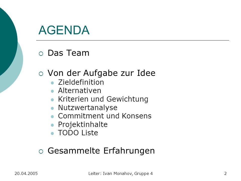 20.04.2005Leiter: Ivan Monahov, Gruppe 42 AGENDA Das Team Von der Aufgabe zur Idee Zieldefinition Alternativen Kriterien und Gewichtung Nutzwertanalys