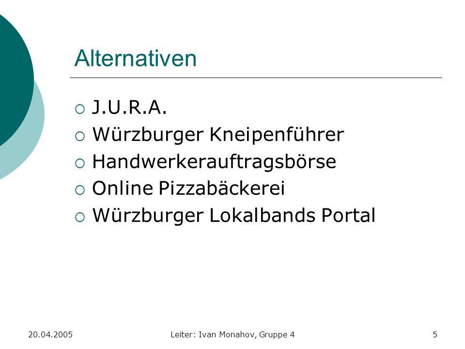 20.04.2005Leiter: Ivan Monahov, Gruppe 45 Alternativen J.U.R.A. Würzburger Kneipenführer Handwerkerauftragsbörse Online Pizzabäckerei Würzburger Lokal