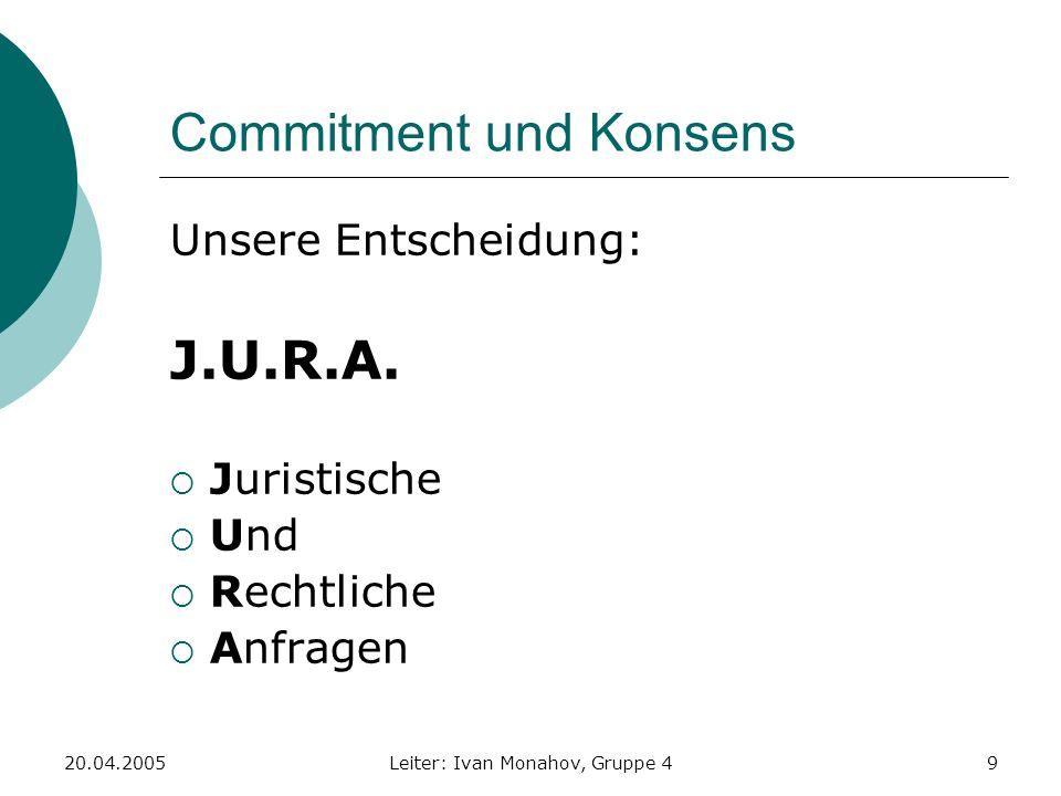 20.04.2005Leiter: Ivan Monahov, Gruppe 49 Commitment und Konsens Unsere Entscheidung: J.U.R.A. Juristische Und Rechtliche Anfragen