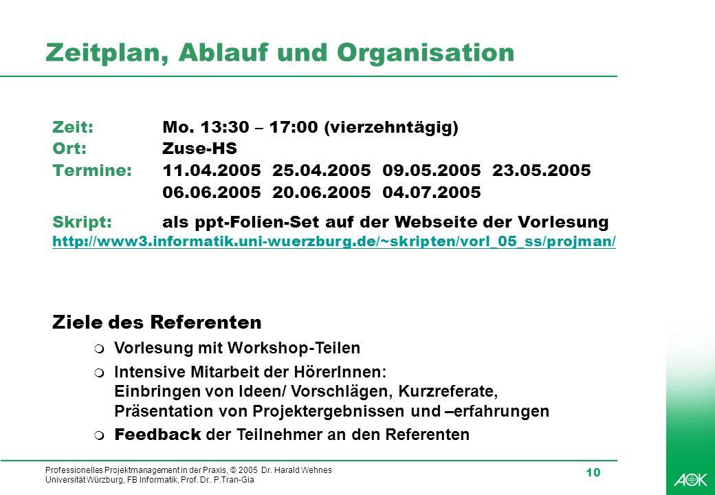 Professionelles Projektmanagement in der Praxis, © 2005 Dr. Harald Wehnes Universität Würzburg, FB Informatik, Prof. Dr. P.Tran-Gia 10 Zeitplan, Ablau