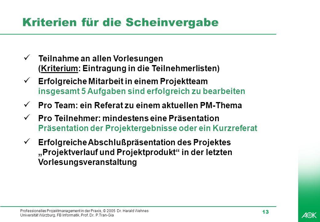 Professionelles Projektmanagement in der Praxis, © 2005 Dr. Harald Wehnes Universität Würzburg, FB Informatik, Prof. Dr. P.Tran-Gia 13 Kriterien für d