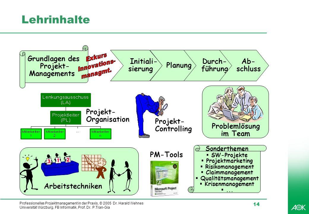 Professionelles Projektmanagement in der Praxis, © 2005 Dr. Harald Wehnes Universität Würzburg, FB Informatik, Prof. Dr. P.Tran-Gia 14 Lehrinhalte Gru