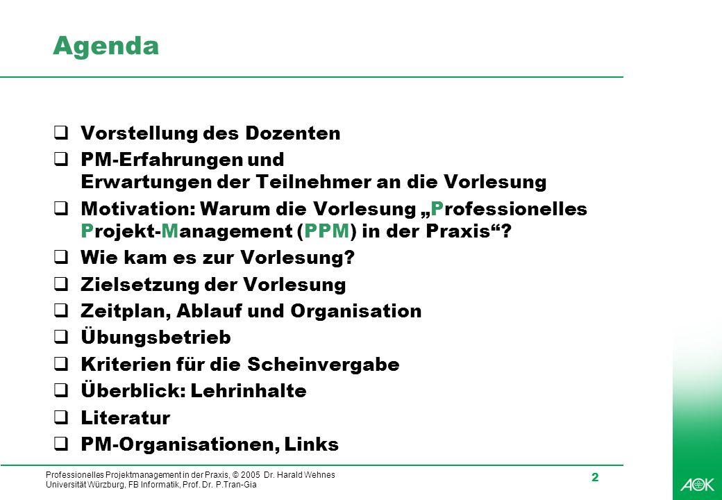 Professionelles Projektmanagement in der Praxis, © 2005 Dr. Harald Wehnes Universität Würzburg, FB Informatik, Prof. Dr. P.Tran-Gia 2 Agenda Vorstellu