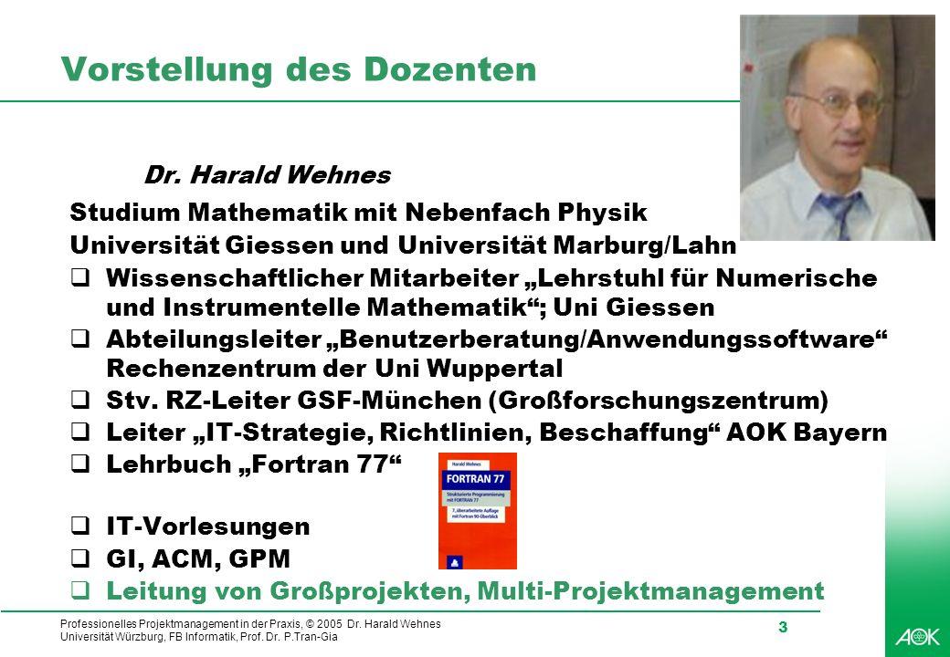 Professionelles Projektmanagement in der Praxis, © 2005 Dr. Harald Wehnes Universität Würzburg, FB Informatik, Prof. Dr. P.Tran-Gia 3 Vorstellung des