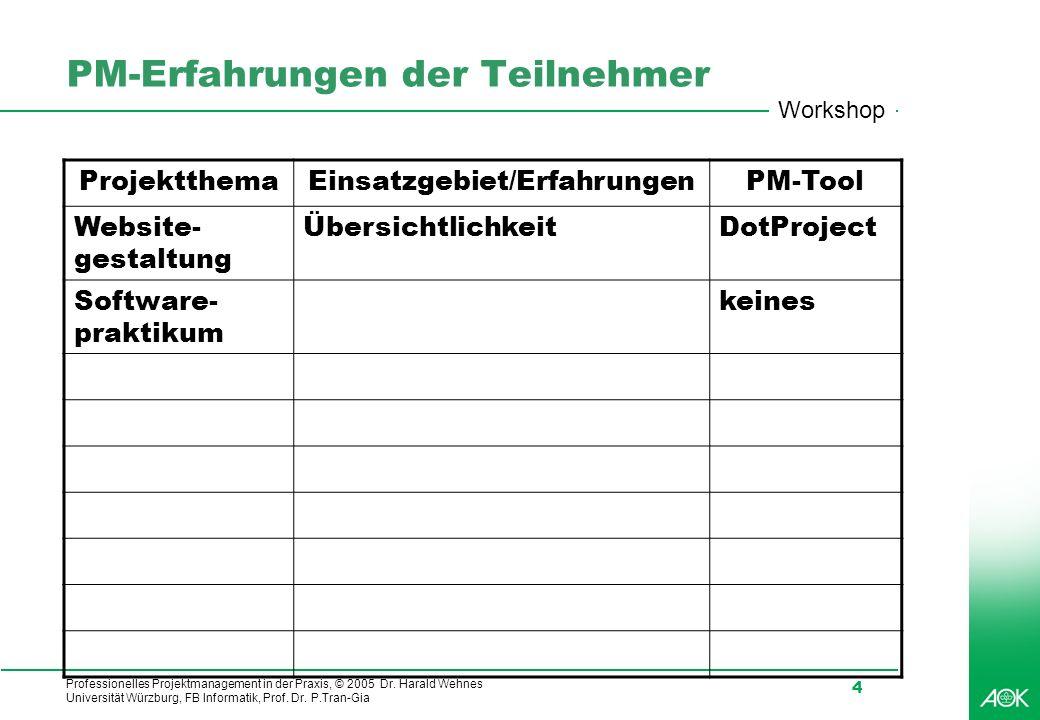 Professionelles Projektmanagement in der Praxis, © 2005 Dr. Harald Wehnes Universität Würzburg, FB Informatik, Prof. Dr. P.Tran-Gia 4 PM-Erfahrungen d