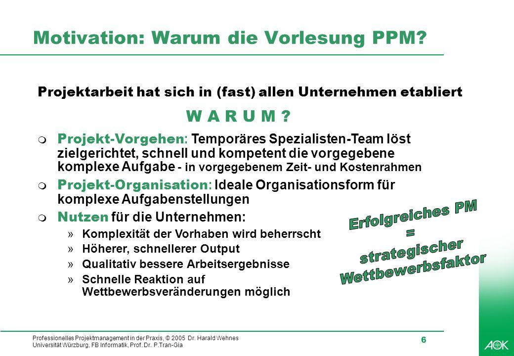 Professionelles Projektmanagement in der Praxis, © 2005 Dr. Harald Wehnes Universität Würzburg, FB Informatik, Prof. Dr. P.Tran-Gia 6 Motivation: Waru