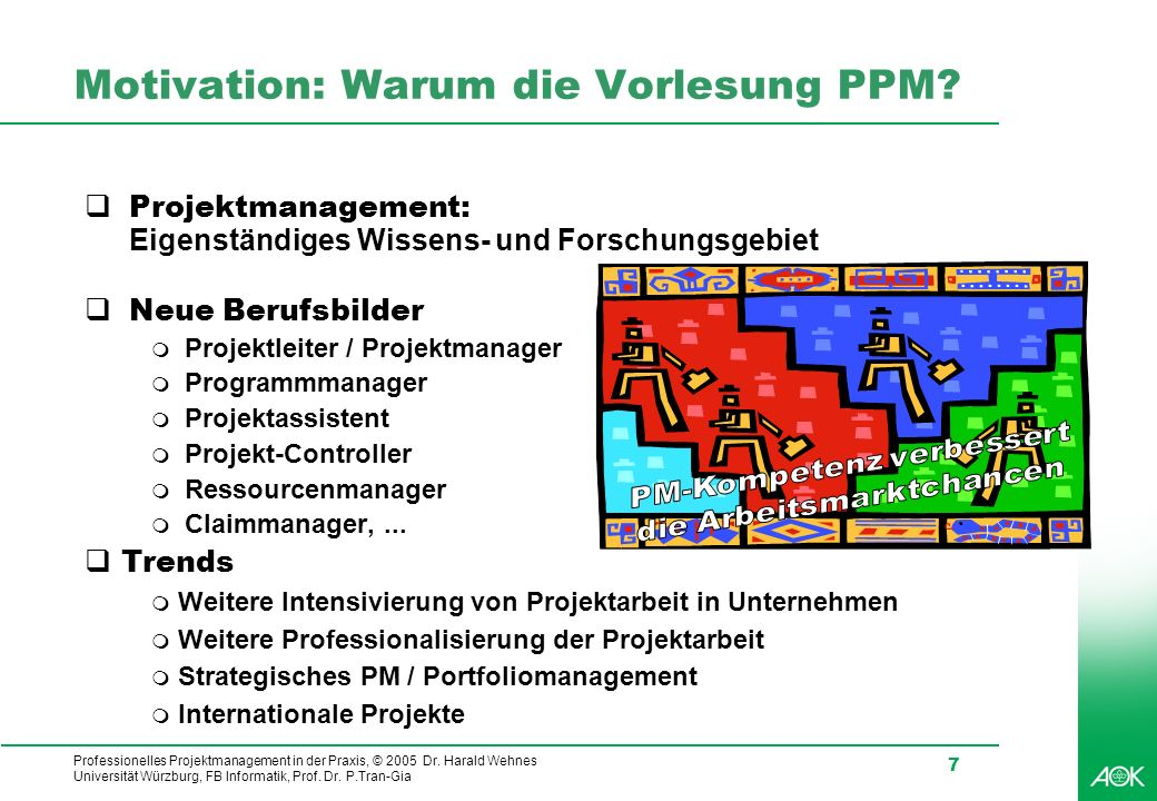 Professionelles Projektmanagement in der Praxis, © 2005 Dr. Harald Wehnes Universität Würzburg, FB Informatik, Prof. Dr. P.Tran-Gia 7 Motivation: Waru