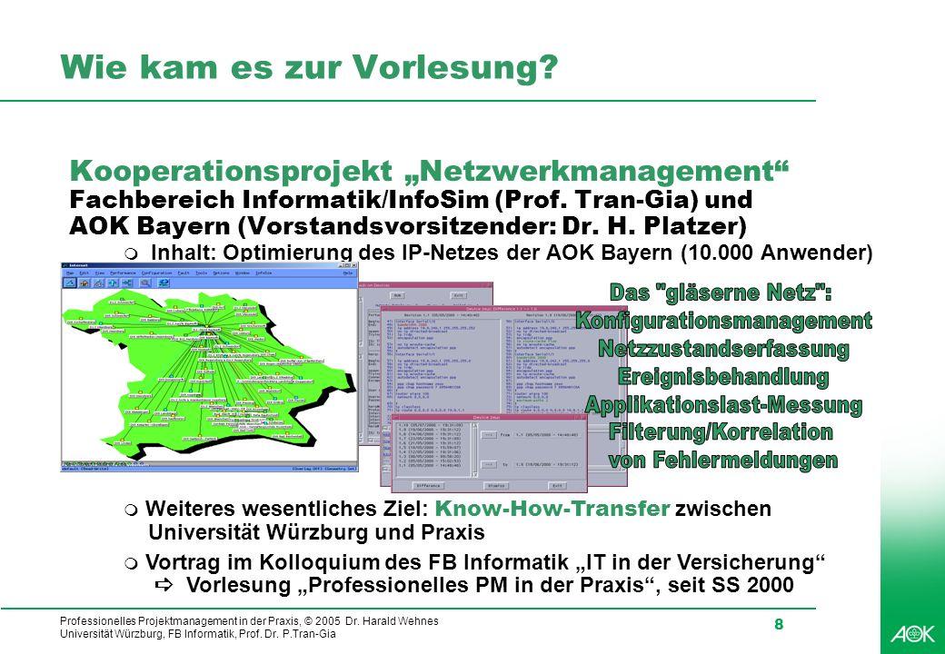 Professionelles Projektmanagement in der Praxis, © 2005 Dr. Harald Wehnes Universität Würzburg, FB Informatik, Prof. Dr. P.Tran-Gia 8 Wie kam es zur V