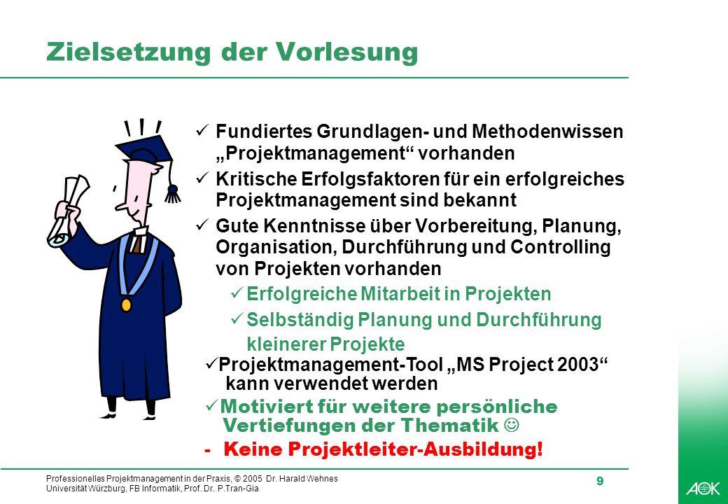 Professionelles Projektmanagement in der Praxis, © 2005 Dr. Harald Wehnes Universität Würzburg, FB Informatik, Prof. Dr. P.Tran-Gia 9 Zielsetzung der
