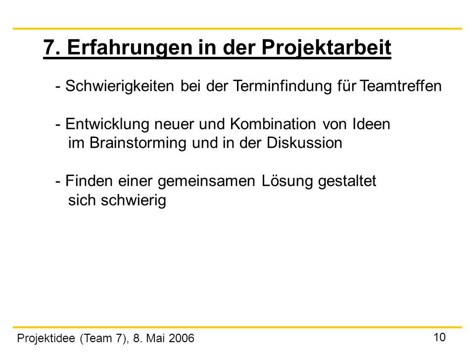 Projektidee (Team 7), 8. Mai 2006 10 7. Erfahrungen in der Projektarbeit - Schwierigkeiten bei der Terminfindung für Teamtreffen - Entwicklung neuer u