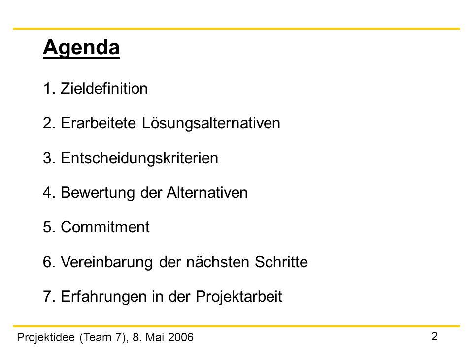 Projektidee (Team 7), 8. Mai 2006 2 Agenda 1.Zieldefinition 2. Erarbeitete Lösungsalternativen 3. Entscheidungskriterien 4. Bewertung der Alternativen