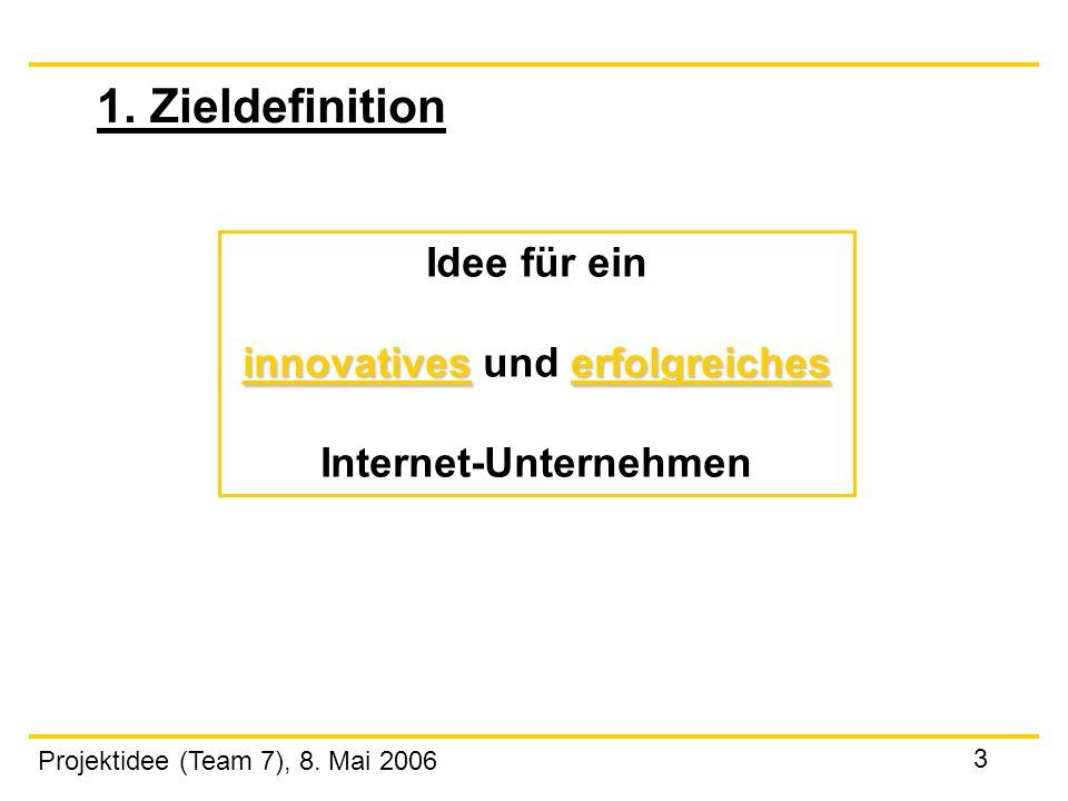 Projektidee (Team 7), 8. Mai 2006 3 1. Zieldefinition Idee für ein innovativeserfolgreiches innovatives und erfolgreiches Internet-Unternehmen