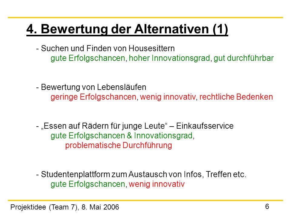 Projektidee (Team 7), 8. Mai 2006 6 4. Bewertung der Alternativen (1) - Suchen und Finden von Housesittern gute Erfolgschancen, hoher Innovationsgrad,
