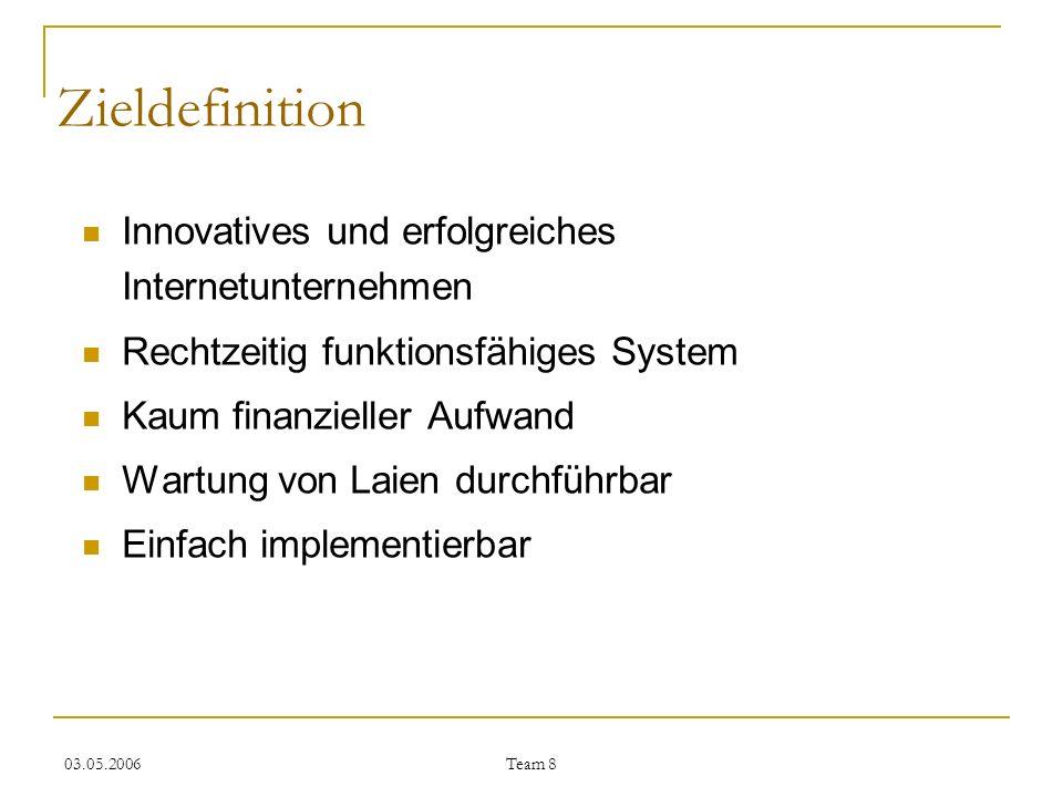 03.05.2006 Team 8 Zieldefinition Innovatives und erfolgreiches Internetunternehmen Rechtzeitig funktionsfähiges System Kaum finanzieller Aufwand Wartu