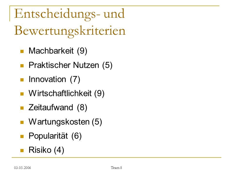 03.05.2006 Team 8 Entscheidungs- und Bewertungskriterien Machbarkeit (9) Praktischer Nutzen (5) Innovation (7) Wirtschaftlichkeit (9) Zeitaufwand (8)