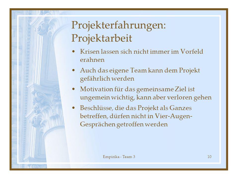 Empirika - Team 310 Projekterfahrungen: Projektarbeit Krisen lassen sich nicht immer im Vorfeld erahnen Auch das eigene Team kann dem Projekt gefährli