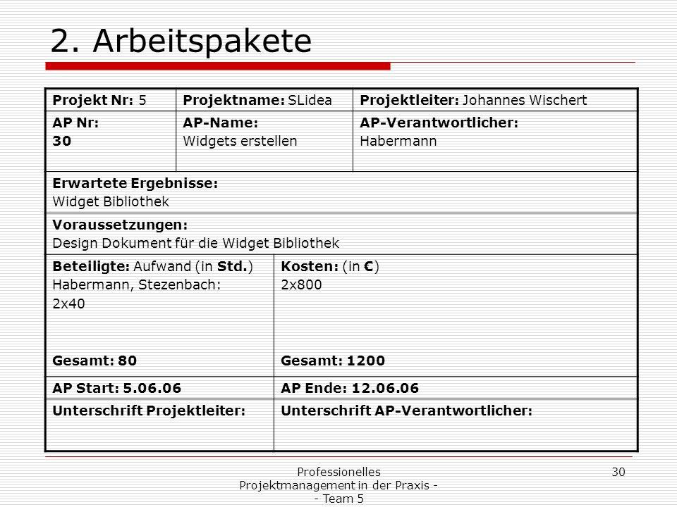 Professionelles Projektmanagement in der Praxis - - Team 5 30 2. Arbeitspakete Projekt Nr: 5Projektname: SLideaProjektleiter: Johannes Wischert AP Nr: