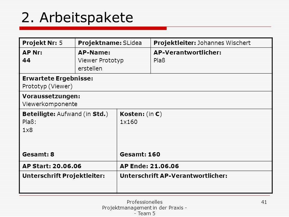 Professionelles Projektmanagement in der Praxis - - Team 5 41 2. Arbeitspakete Projekt Nr: 5Projektname: SLideaProjektleiter: Johannes Wischert AP Nr: