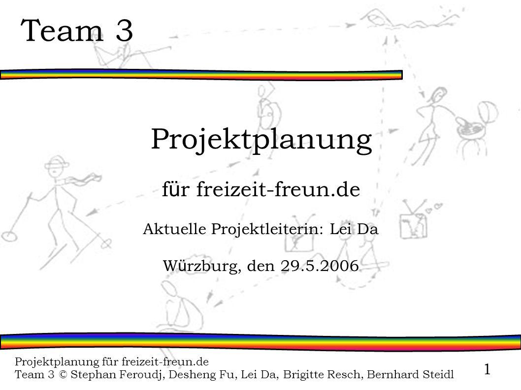 Projektplanung für freizeit-freun.de Team 3 © Stephan Feroudj, Desheng Fu, Lei Da, Brigitte Resch, Bernhard Steidl 1 Team 3 Projektplanung f ü r freiz