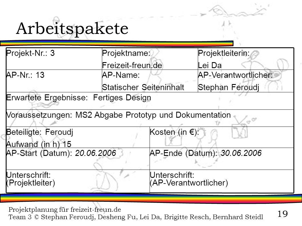 Projektplanung für freizeit-freun.de Team 3 © Stephan Feroudj, Desheng Fu, Lei Da, Brigitte Resch, Bernhard Steidl 19 Arbeitspakete Unterschrift: (AP-
