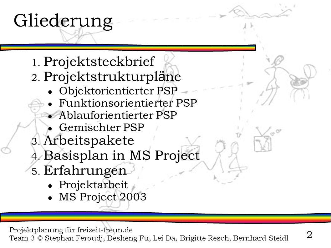 Projektplanung für freizeit-freun.de Team 3 © Stephan Feroudj, Desheng Fu, Lei Da, Brigitte Resch, Bernhard Steidl 2 Gliederung 1. Projektsteckbrief 2