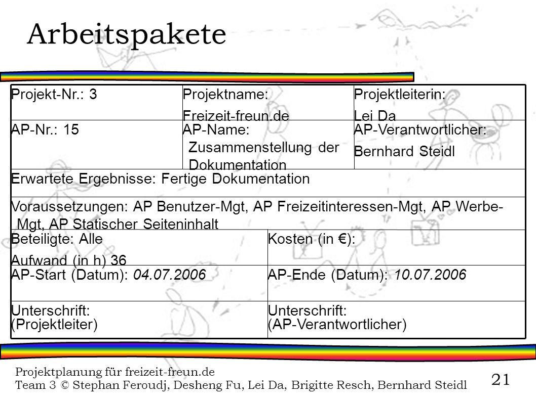 Projektplanung für freizeit-freun.de Team 3 © Stephan Feroudj, Desheng Fu, Lei Da, Brigitte Resch, Bernhard Steidl 21 Arbeitspakete Unterschrift: (AP-