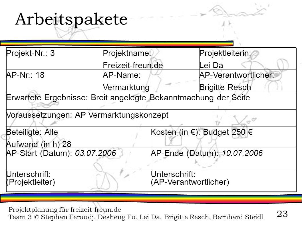 Projektplanung für freizeit-freun.de Team 3 © Stephan Feroudj, Desheng Fu, Lei Da, Brigitte Resch, Bernhard Steidl 23 Arbeitspakete Unterschrift: (AP-