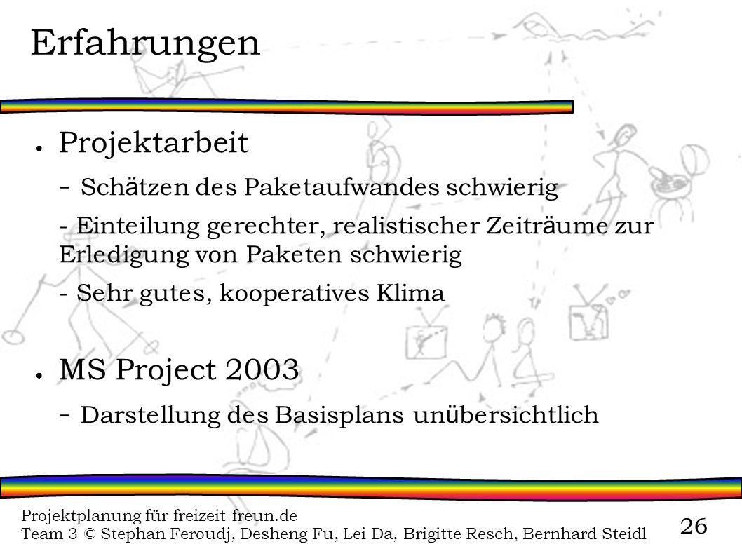 Projektplanung für freizeit-freun.de Team 3 © Stephan Feroudj, Desheng Fu, Lei Da, Brigitte Resch, Bernhard Steidl 26 Erfahrungen Projektarbeit - Sch