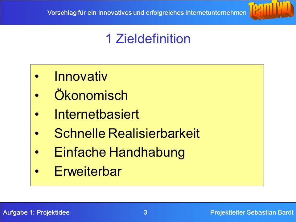 Vorschlag für ein innovatives und erfolgreiches Internetunternehmen Aufgabe 1: Projektidee 3Projektleiter Sebastian Bardt 1 Zieldefinition Innovativ Ökonomisch Internetbasiert Schnelle Realisierbarkeit Einfache Handhabung Erweiterbar