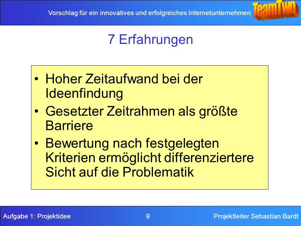Vorschlag für ein innovatives und erfolgreiches Internetunternehmen Aufgabe 1: Projektidee 9Projektleiter Sebastian Bardt 7 Erfahrungen Hoher Zeitaufw