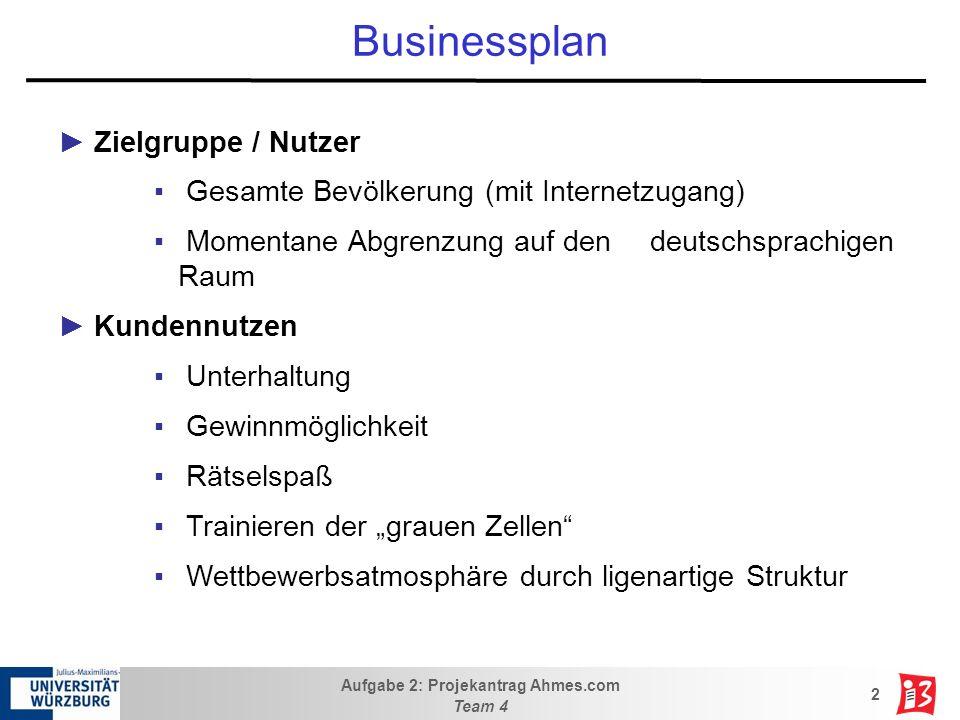 Aufgabe 2: Projekantrag Ahmes.com Team 4 2 Businessplan Zielgruppe / Nutzer Gesamte Bevölkerung (mit Internetzugang) Momentane Abgrenzung auf den deut