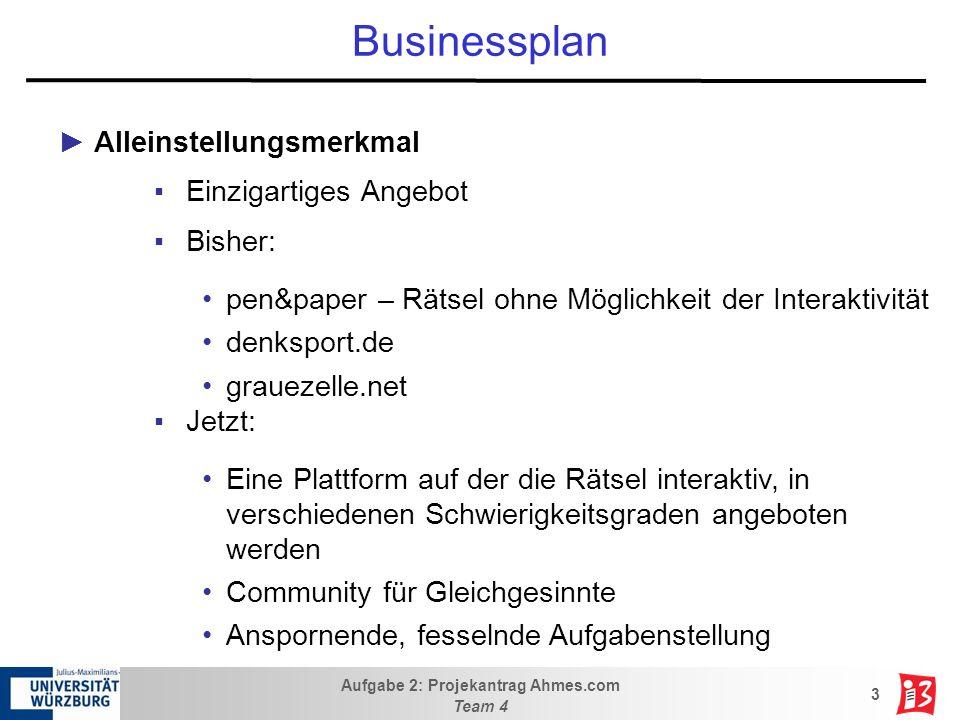 Aufgabe 2: Projekantrag Ahmes.com Team 4 4 Businessplan Marktpotenzial Anwender: Innovatives Konzept: –Denksportaufgaben mit Gewinnmöglichkeit –Wettbewerbsförderndes Rankingsystem große Zielgruppe Wirtschaftlich: –Gezielte Werbung möglich und daher für den Werbeträger sehr interessant