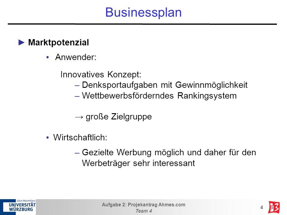 Aufgabe 2: Projekantrag Ahmes.com Team 4 4 Businessplan Marktpotenzial Anwender: Innovatives Konzept: –Denksportaufgaben mit Gewinnmöglichkeit –Wettbe