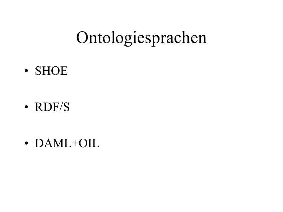 Ontologiesprachen SHOE RDF/S DAML+OIL