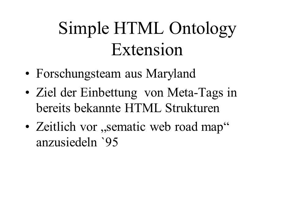 Simple HTML Ontology Extension Forschungsteam aus Maryland Ziel der Einbettung von Meta-Tags in bereits bekannte HTML Strukturen Zeitlich vor sematic web road map anzusiedeln `95