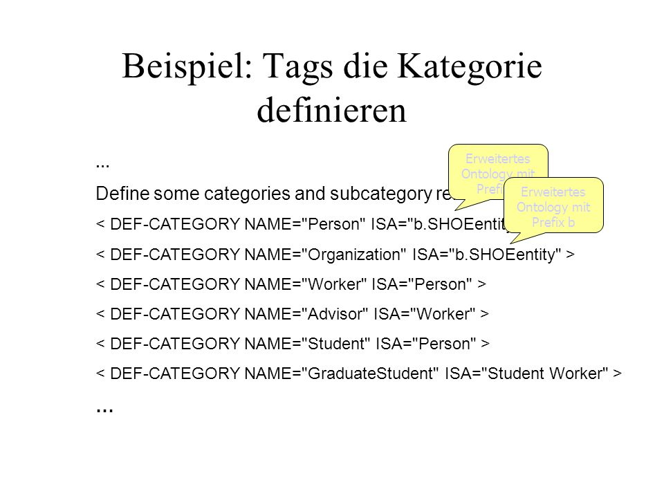 Beispiel: Tags die Kategorie definieren … Define some categories and subcategory relationships … Erweitertes Ontology mit Prefix b
