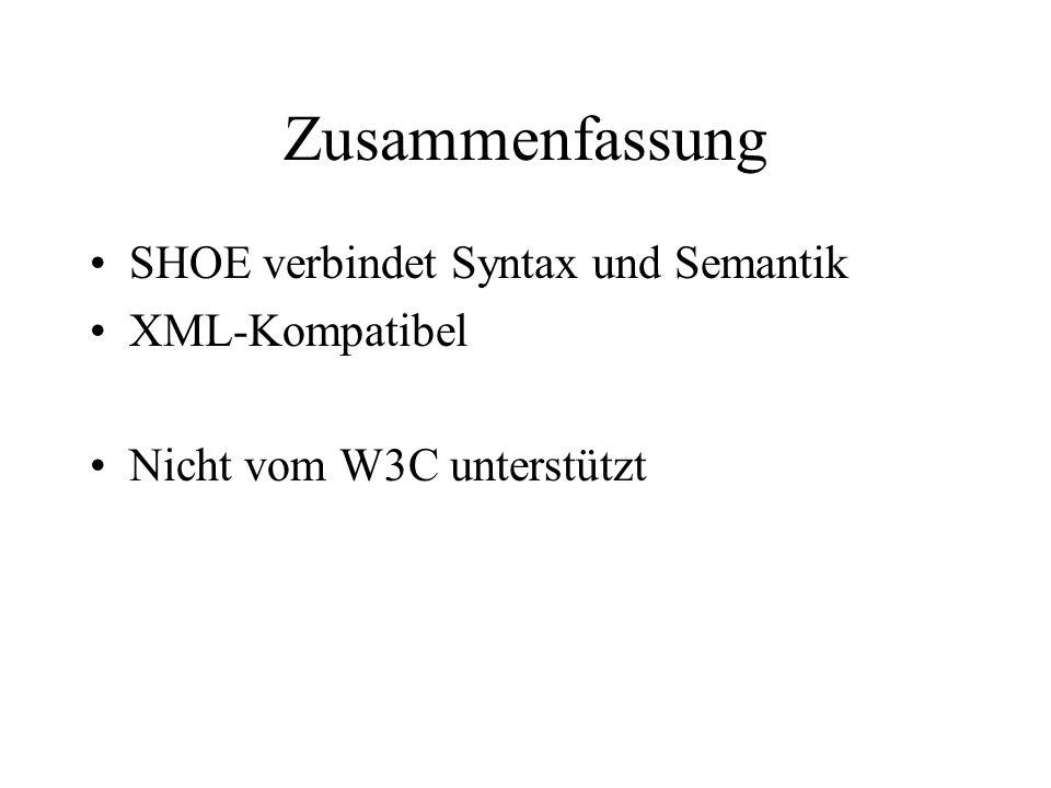Zusammenfassung SHOE verbindet Syntax und Semantik XML-Kompatibel Nicht vom W3C unterstützt