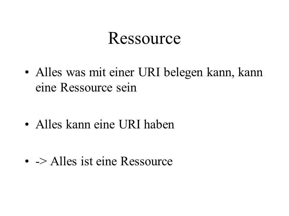 Ressource Alles was mit einer URI belegen kann, kann eine Ressource sein Alles kann eine URI haben -> Alles ist eine Ressource