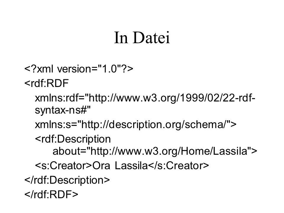 In Datei <rdf:RDF xmlns:rdf= http://www.w3.org/1999/02/22-rdf- syntax-ns# xmlns:s= http://description.org/schema/ > Ora Lassila
