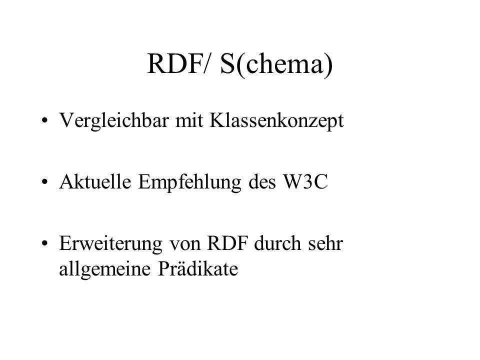 RDF/ S(chema) Vergleichbar mit Klassenkonzept Aktuelle Empfehlung des W3C Erweiterung von RDF durch sehr allgemeine Prädikate