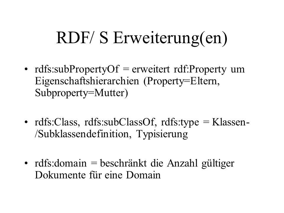 RDF/ S Erweiterung(en) rdfs:subPropertyOf = erweitert rdf:Property um Eigenschaftshierarchien (Property=Eltern, Subproperty=Mutter) rdfs:Class, rdfs:subClassOf, rdfs:type = Klassen- /Subklassendefinition, Typisierung rdfs:domain = beschränkt die Anzahl gültiger Dokumente für eine Domain