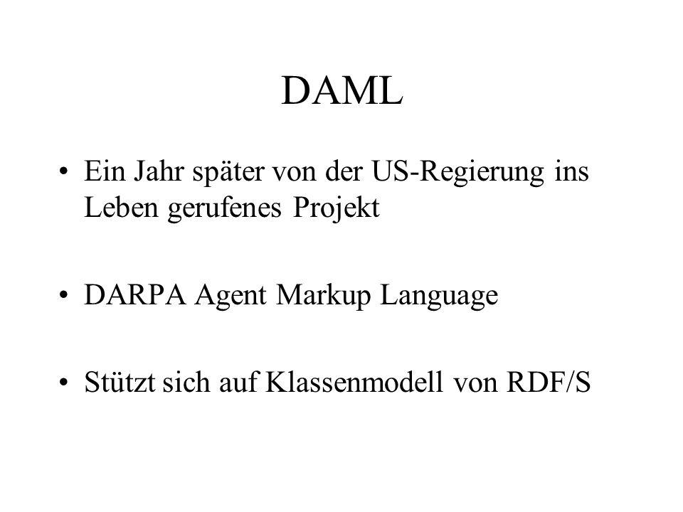 DAML Ein Jahr später von der US-Regierung ins Leben gerufenes Projekt DARPA Agent Markup Language Stützt sich auf Klassenmodell von RDF/S