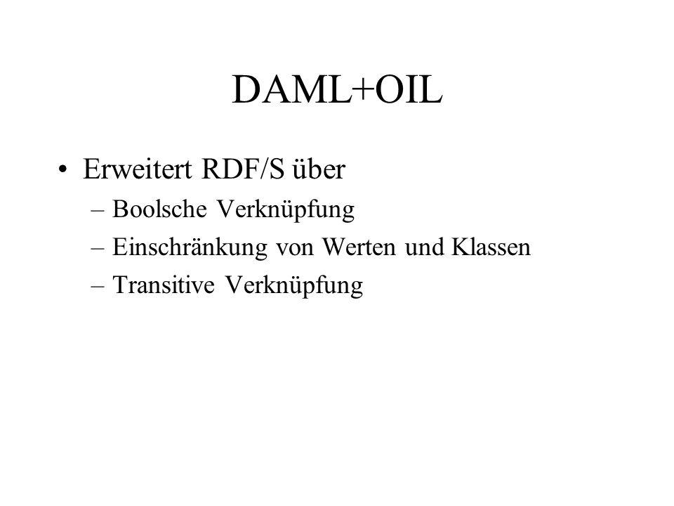 DAML+OIL Erweitert RDF/S über –Boolsche Verknüpfung –Einschränkung von Werten und Klassen –Transitive Verknüpfung