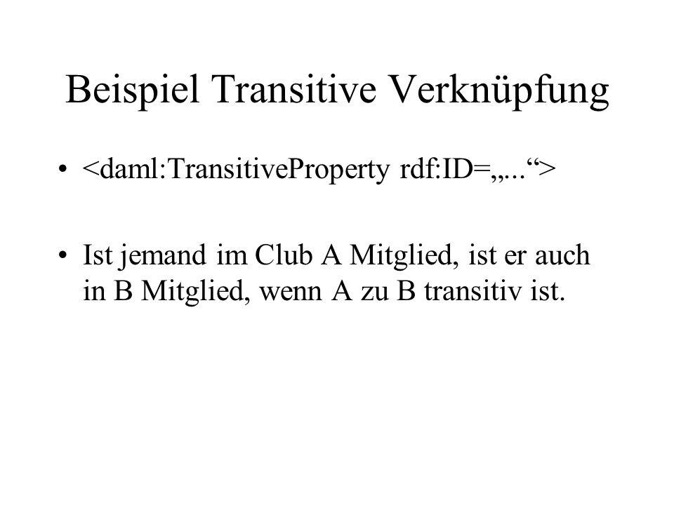 Beispiel Transitive Verknüpfung Ist jemand im Club A Mitglied, ist er auch in B Mitglied, wenn A zu B transitiv ist.