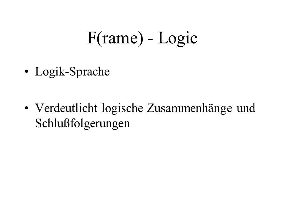 F(rame) - Logic Logik-Sprache Verdeutlicht logische Zusammenhänge und Schlußfolgerungen
