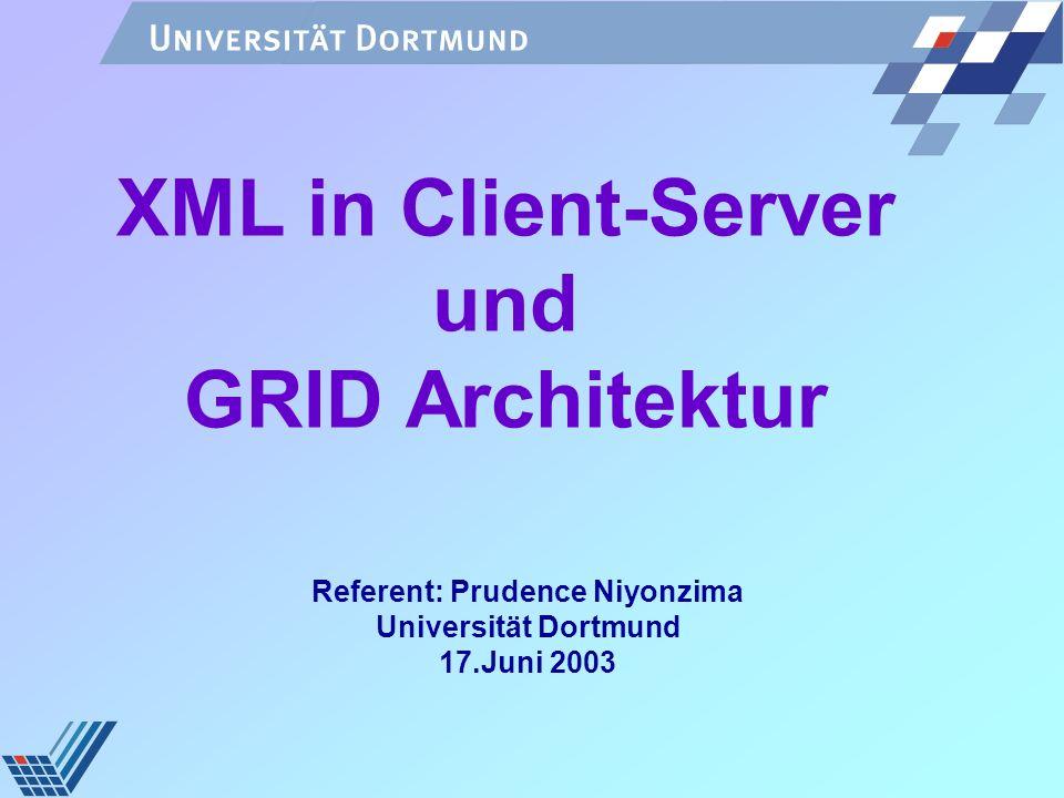 17.06.2003XML in Client-Server und Grid Architektur2 Gliederung Client-Server Modell Grid-Computing Modell Vom Client-Server zum Grid Modell Grid-Computing Modell Rolle von XML in Client-Server/ GRID