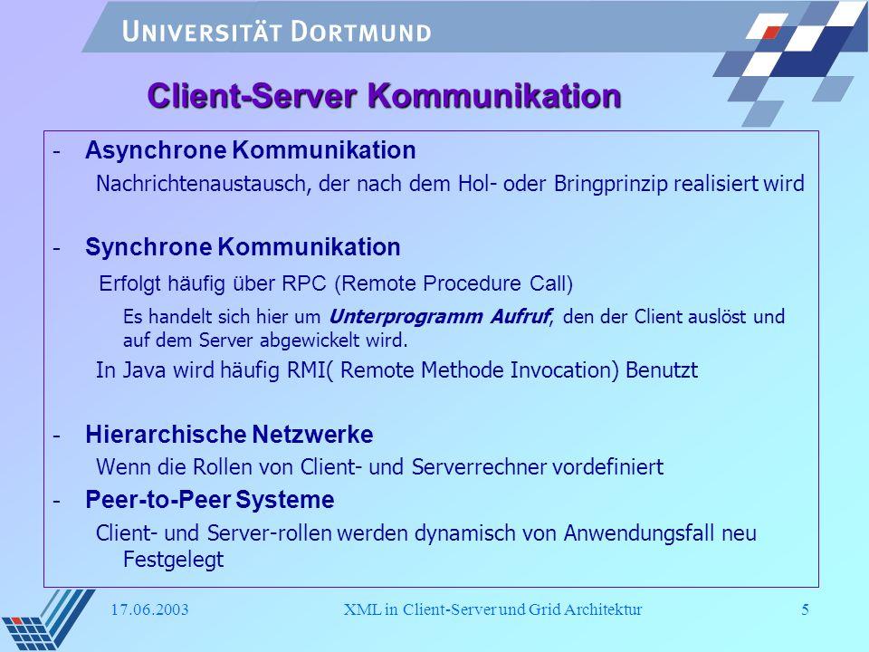 17.06.2003XML in Client-Server und Grid Architektur16 Rolle von XML in Grid Modell -Kommunikationsprotokoll Da XML-basierte Protokolle schneller zu verarbeiten sind als z.B.